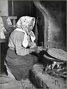 Fine anni '20:  Arzdoura di pura razza romagnola  che cuoce la piadina